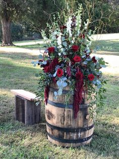 fall flowers whiskey barrel wedding decoration ideas wedding 10 Amazing Fall Wedding Colors to Inspire in One Fall Wedding Flowers, Fall Wedding Colors, Burgundy Wedding, Fall Flowers, Wedding Bouquets, Maroon Wedding, Dress Wedding, Country Wedding Colors, Spring Wedding