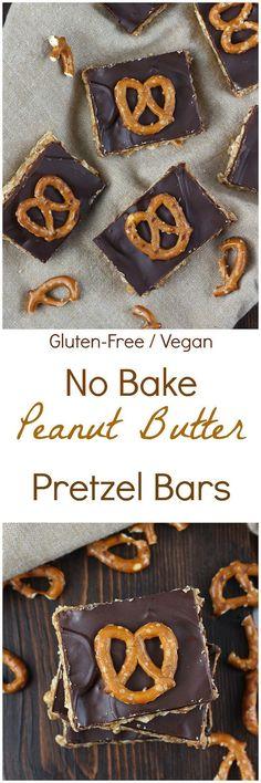 Peanut Butter Pretzel Bars [Gluten-free / Vegan]