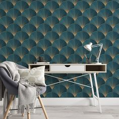 Fan Leaf Pattern Removable Wallpaper, Cool Blue Wall Cling, Geometric Peel and Stick, Modern Art Deco Decor, Beautiful Wall Mural Covering - Canvas Wall Decal / 1 roll: 24W x 120H