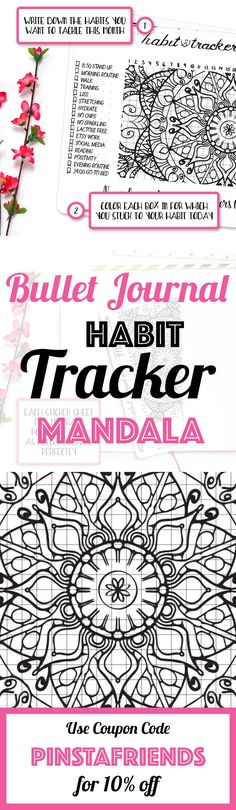 Let's this beautiful Mandala inspire you to stick to your habits on a daily basis and become the person you always wanted to be! Make sure to fill this Habit Tracker out at least once a day so you can stay on top of your tasks and get one step closer to your goals each and every day