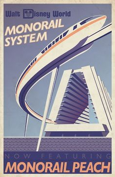 Disney World: Disney Peach Monorail poster. Click for more pictures.