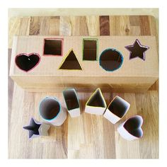 🔺💛Shape Matching Activity🔳🔵 I am still working on downsizing our recycled materials storage bin. Today, I chose toilet paper rolls and a… Baby Learning Activities, Montessori Activities, Infant Activities, Baby Sensory Play, Preschool Crafts, Kids Playing, Shape Matching, Recycled Materials, Toddler Toys