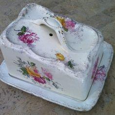 Antique Royal Bonn Franz Anton Mehlem German Floral Covered Cheese Butter Dish | eBay