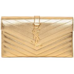 Saint Laurent Monogram Metallic Clutch - Gold (25,035 MXN) ❤ liked on Polyvore featuring bags, handbags, clutches, purses, gold, gold handbag, yves saint laurent handbags, metallic handbags, gold metallic purse and accessories handbags