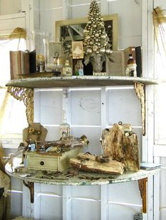 The Seed Box Antiques great idea! looks like broken table made into shelves
