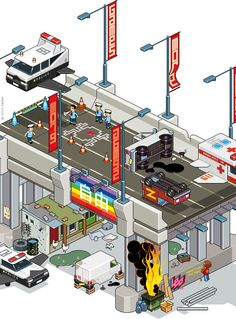 Isometric Pixel Art That Depict Classic Video Games as Real World Scenarios (Frog Crash 'Frogger')