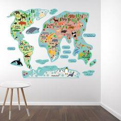Een prachtige wereldkaart muursticker voor die globetrotter die wat van de wereld will zien. Leuk, decoratief en educatief, perfect dus voor de kinderkamer! Price € 39,95