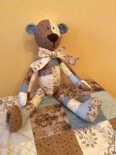 Купить Лоскутное одеяло детское - коричневый, голубой, бежевый, лоскутное одеяло, лоскутное покрывало