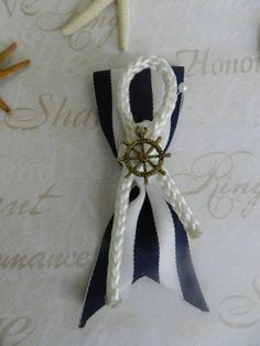 Nautical Beach themed Groom or Groomsmen Boutonniere by ChiKaPea