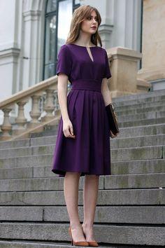 Purple Dress Women Dress Purple Clothing Circle Dress Knee Length Dress Formal D… Formal Dresses For Women, Short Sleeve Dresses, Dress Formal, Dresses For Work, Long Sleeve, Circle Dress, Circle Skirts, Purple Outfits, Purple Dress Casual