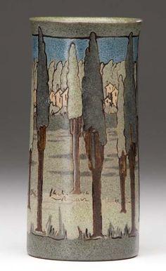 "Saturday Evening Girls - Landscape with Trees Vase. Cuerda Seca Painted & Glazed Pottery. Decorated by Ida Goldstein (1894-?). Boston, Massachusetts. Circa 1911. 6-3/4"" x 3""."