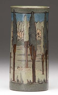 "Saturday Evening Girls - Landscape with Trees Vase. Cuerda Seca Painted & Glazed Pottery. Decorated by Ida Goldstein (1894-?). Boston, Massachusetts. Circa 1911. 6-3/4"" x 3""."