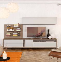 Modern and stylish TV unit and cabinet composition in various wood, matt and high gloss finishes