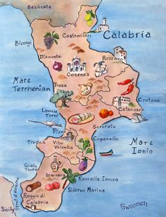 Map Of Calabria, Italy by KathleenGwinnettArt on Etsy https://www.etsy.com/listing/557284775/map-of-calabria-italy
