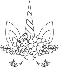 unicorn drawing easy step by step . unicorn drawing easy for kids . Unicorn Coloring Pages, Cute Coloring Pages, Free Printable Coloring Pages, Coloring For Kids, Coloring Books, Unicorn Drawing, Unicorn Face, Paper Embroidery, Hand Embroidery Patterns