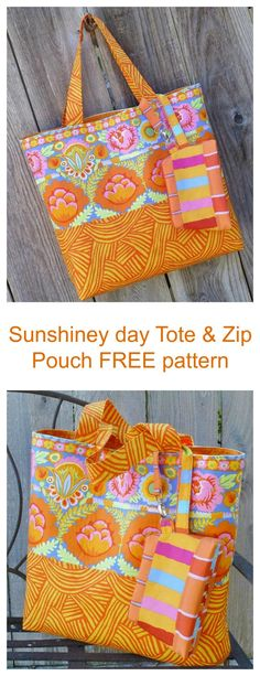 Sunshiney Day Tote & Zip Pouch FREE pattern. This beginner FREE pattern makes not just the pretty tote bag, but a coordinating zip pouch as well.