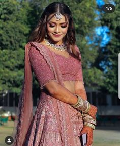 This Bride's Rouge Pink Engagement Look Will Leave You Amazed! Indian Gowns Dresses, Indian Fashion Dresses, Indian Designer Outfits, India Fashion, Designer Dresses, Tokyo Fashion, Street Fashion, Indian Bridal Outfits, Indian Bridal Fashion