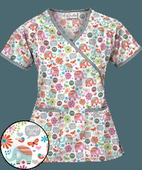 UA Beautiful Day White Mock Wrap Print Scrub Top