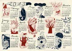 Handprinted Wall Calendar 2013. Mina Braun