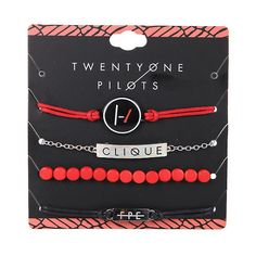 Twenty One Pilots Clique ID Bracelet Set Hot Topic ($7.87) ❤ liked on Polyvore featuring jewelry, bracelets, roaring twenties jewelry, 1920s jewelry and 1920s style jewelry