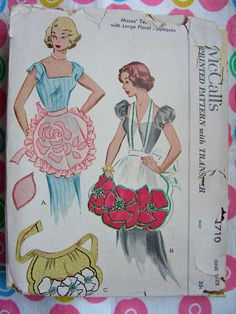UNCUT * 1950s McCall Pattern 1710 - GLAMOROUS Misses' Bib Tea or Half Aprons with Large Floral Appliqués * One Size * Factory Folded