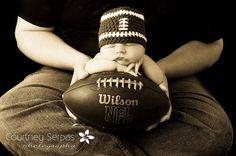 Baby Boy Newborn or 0 to 3 Months Football Beanie Hat - Cute Photo Prop.
