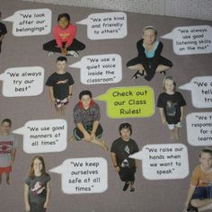make classroom rules in word bubbles (w/ PECS obv) and laminate.
