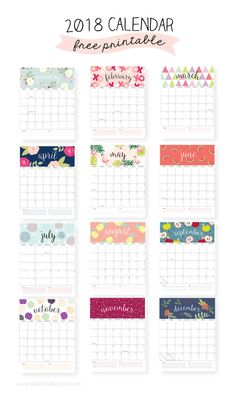 Una Pizca de Hogar: 5 calendarios imprimibles ¡Gratis!