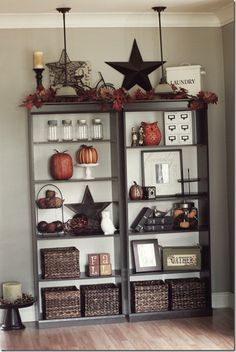 wall colors, dining rooms, bookshelves decorating ideas, living rooms, primitive fall, bookcas, bookshelv decor, decor idea, primitive bookshelf