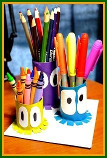 Great way to stay organized and recycle empty toilet paper rolls! Learn how to make these at http://www.easy-crafts-for-kids.com/ocean-kids-crafts.html
