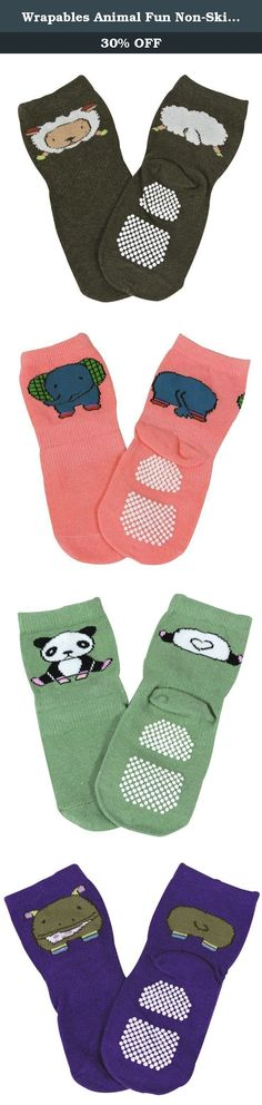 Wrapables Animal Fun Non-Skid Baby Socks (Set of 5). It's like going to a zoo with these fun animal baby socks! The bottoms of the socks are beaded with non-skid material for your baby's safety. Your child can safely run and play without having to worry about slipping. The socks feature the front and backside of an adorable animal in a cheerful color. Sold as a set of 5, one pair of each animal. Socks ideal for sizes 1T-3T. Dimensions: 7 x 2.75 inches. Material: Cotton.