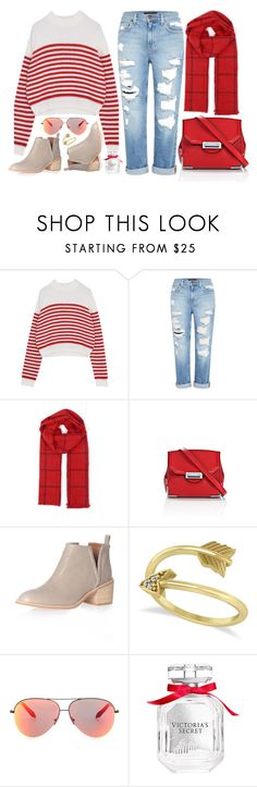 """""""Striped Out"""" by genuine-people ❤ liked on Polyvore featuring Genetic Denim, Alexander Wang, Jeffrey Campbell, Allurez, Victoria Beckham, Victoria's Secret and red"""