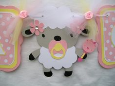 Baby shower banner, its a girl lamb banner in pink and yellow- MADE TO ORDER