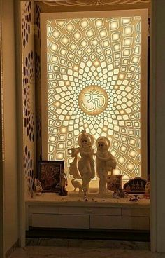 Inspiration for Indian Pooja Room, Puja Room. Home Temple, with Lords Krishna and Radha via Living Room Partition Design, Living Room Tv Unit Designs, Room Partition Designs, Pooja Room Door Design, Home Room Design, Home Interior Design, Sala Zen, Temple Room, Home Temple
