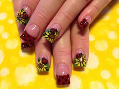 sunflowers and 3d ladybugs - Nail Art Gallery