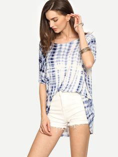 9$  Buy here - http://dinny.justgood.pw/go.php?t=2548 - Multicolor Ikat Print Half Sleeve T-shirt