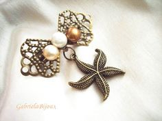 Bohemian Vintage Bronze Bow Starfish Freshwater Pearls Brooch Earrings Gift - pinned by pin4etsy.com