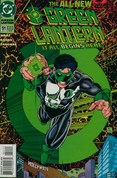 Green Lantern #51.  Following Hal Jordan's decades as the character & his downfall, Kyle Rayner becomes the only Green Lantern in the universe.  (I have this one.)