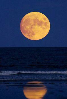 Harvest Moon over the ocean