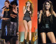Nos shows, Miley continua a adorar o preto! A cor curinga aparece em jeans rasgados, t-shirts, body, shorts, blusa de paetês, cinto, coturnos...