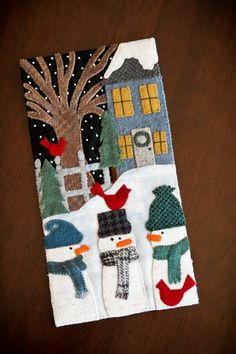 Winterland House Banner Like the composition. Great starting point for paper or fabric collage. Christmas Applique, Christmas Sewing, Felt Christmas, Christmas Crafts, Christmas Quilting, Wool Applique Patterns, Felt Applique, Applique Quilts, Felted Wool Crafts