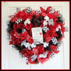 Love Heart Shaped Mesh Wreath, Valentines Day Engagement Wedding Anniversary Bridal Love Is Always the Answer! No matter what the question is. It's that simple! Now get out there and spread the love and give this beautiful wreath to someone special! Or hang it on your own door and let