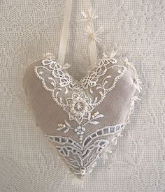 Items similar to vintage linen and lace hanging heart on Etsy. , via Etsy. Lace Heart, Heart Art, Shabby Chic Fabric, Fabric Hearts, Creation Deco, I Love Heart, Heart Crafts, Hanging Hearts, Vintage Heart