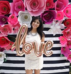 Paper flowers. Photo backdrop. Kate Spade Bridal Shower.