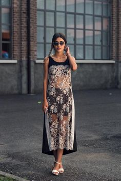 the sheer thing again, this time, lace. Street Chic, Street Style, Moda Chic, Lookbook, Facon, Inspired Outfits, Dress Me Up, Her Style, Dress Skirt