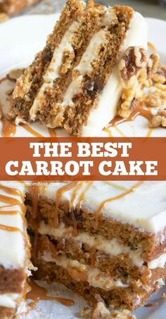 This is the Best Carrot Cake Recipe you'll ever try! Layers of moist spiced cake filled with real carrots topped with creamy white chocolate icing! If you love carrot cake then you have to try this easy and delicious recipe! This is the ultimate dessert! Just Desserts, Delicious Desserts, Dessert Recipes, Yummy Food, Easter Desserts, Frosting Recipes, Health Desserts, Recipes Dinner, Mini Cakes