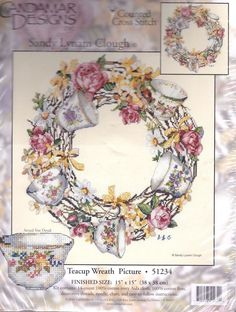 Candamar Counted Cross Stitch Kit Teacup Wreath Sandy Lynam Clough 15 by 15 New #CandamarDesigns #Frame #crossstitch #embroidery #teacup