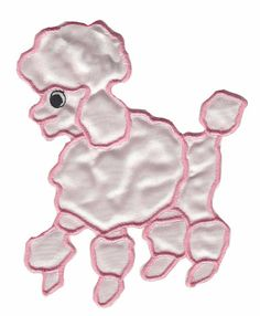 Pink satin iron-on or sew-on poodle applique'. Easy to apply no matter which method you prefer.