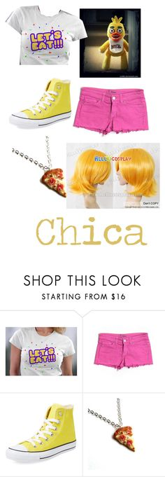 """Chica FNAF"" by lovestruckdreamer ❤ liked on Polyvore featuring Freddy, Dittos, Converse and Junk Food Clothing"