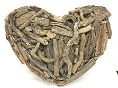 Driftwood heart with solid pieces of driftwoods Driftwood Wall Art, Driftwood Sculpture, Nautical Wall Decor, Angel Decor, Beach Cottage Decor, Heart Wall, Coastal Art, Deco Mesh, Wedding Decorations